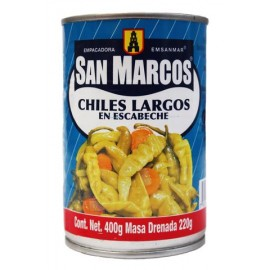 CAJA CHILES LARGOS EN ESCABECHE DE 400 GRS CON 12 LATAS - SAN MARCOS - Envío Gratuito