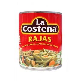 MEDIA CAJA CHILE RAJAS DE 800 GRS CON 6 LATAS - LA COSTEÑA