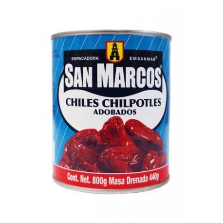 MEDIA CAJA CHILES CHIPOTLES 800 GRS 6 LATAS SAN MARCOS - Envío Gratuito