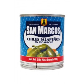MEDIA CAJA CHILES JALAPEÑOS SAN MARCOS DE 215 GRS CON 12 LATAS - SAN MARCOS