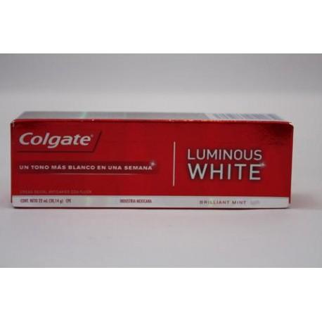 CAJA PASTA DENTAL COLGATE LUMINOUS WHITE DE 22 ML CON 144 PIEZAS - COLGATE-PALMOLIVE - Envío Gratuito