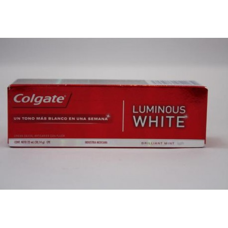 MEDIA CAJA PASTA DENTAL COLGATE LUMINOUS WHITE DE 22 ML CON 72 PIEZAS - COLGATE-PALMOLIVE - Envío Gratuito