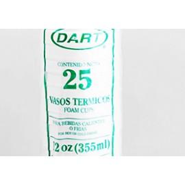 CAJA VASO TÉRMICO DART NO.12 DE 40 PAQUETES CON 25 VASOS - DART
