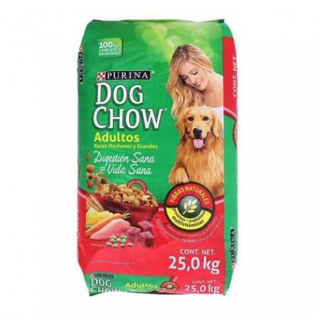 BULTO CROQUETAS DOG CHOW ADULTO RAZAS MEDIANAS Y GRANDES DE 25 KILOS - PURINA  Nestle - Envío Gratuito