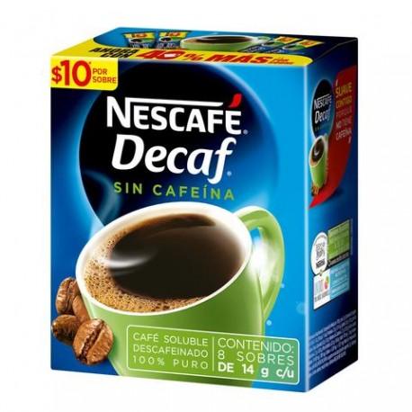 MEDIA CAJA CAFÉ DECAF ORIGINAL STICK DE 14 GRS EN 8 SOBRES CON 6 PIEZAS - NESTLE - Envío Gratuito