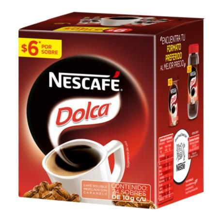 CAJA CAFÉ DOLCA STICK DE 10 GRS EN 6 PAQUETES CON 24 PIEZAS - NESTLE - Envío Gratuito