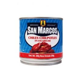 CAJA DE CHILES CHIPOTLES EN ESCABECHE DE 380 GRS EN 12 LATAS - SAN MARCOS