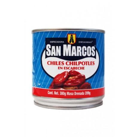 CAJA DE CHILES CHIPOTLES EN ESCABECHE DE 380 GRS EN 12 LATAS - SAN MARCOS - Envío Gratuito