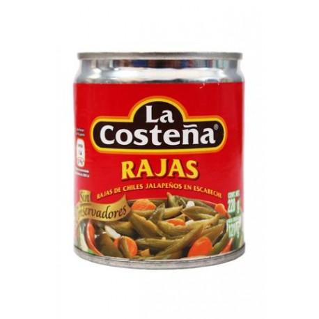 CAJA CHILES RAJAS DE 220 GRS CON 48 LATAS - LA COSTEÑA - Envío Gratuito