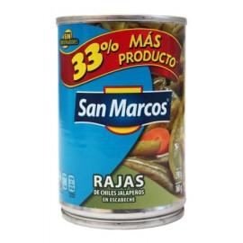 MEDIA CAJA CHILES RAJAS DE 215 GRS CON 12 LATAS - SAN MARCOS