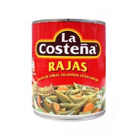 MEDIA CAJA CHILE RAJAS DE 800 GRS CON 6 LATAS - LA COSTEÑA - Envío Gratuito