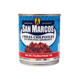 MEDIA CAJA CHILES CHIPOTLES TROZOS DE 215 GRS CON 12 LATAS - SAN MARCOS