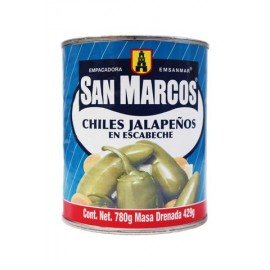 MEDIA CAJA CHILES JALAPEÑOS DE 780 GRS CON 6 LATAS - SAN MARCOS